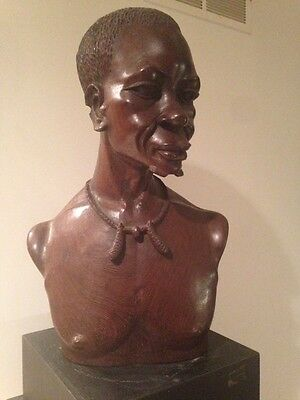 Old Antique Ironwood African Carved Art Full Bust Of Man w/ Base 90 years old