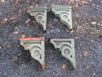 Antique 1870's Architectural Corbels Old Green Paint Salvaged Wood Shelf Blocks