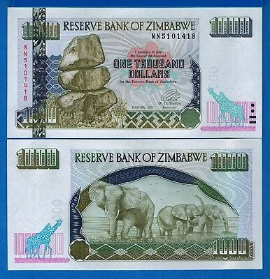 Zimbabwe P-12 1000 Dollars Year 2003 Uncirculated Banknote Free Shipping