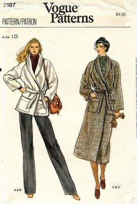 1970's VTG VOGUE Misses' Coat and Jacket Pattern 7187 Size 10 UNCUT