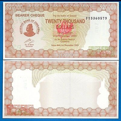 Zimbabwe P-23 20,000 Dollars Year 2003 Uncirculated Banknote Africa