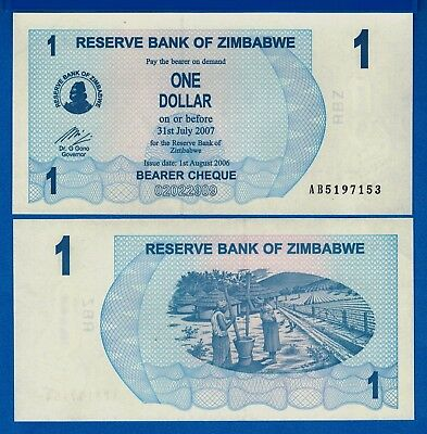 Zimbabwe P-37 One Dollar Year 2006 Uncirculated Banknote Africa