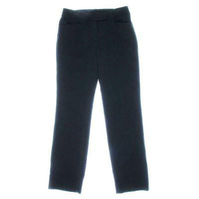 TAHARI ASL $129 Black Solid Flat-Front DRESS PANTS TROUSERS 2 petite NWT