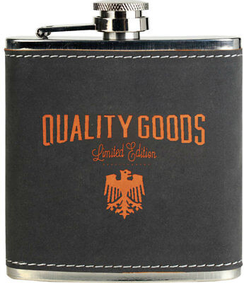 Gray/Orange Textured Stainless Steel Flask (Includes Engraving)