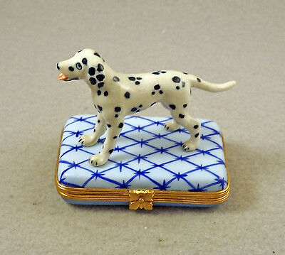 NEW FRENCH LIMOGES BOX HAND PAINTED DALMATIAN DOG Puppy ON blue rug