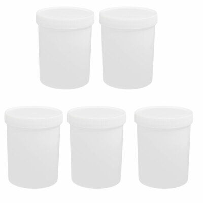 5pcs 500ml Plastic Wide Mouth Liquid Storage Cylinder Bottle Container White