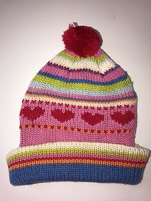 3e0428f8b57 GIRL CONNECTION multi color KNIT WINTER HAT one size HEARTS POM POM cute
