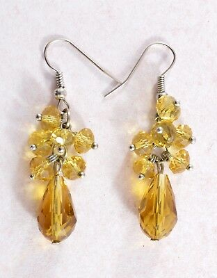 Vintage style citrine coloured glass drop earrings- for pierced ears