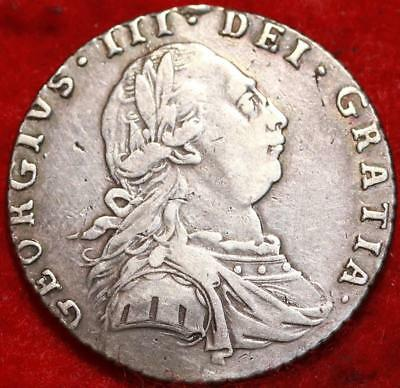 1787 Great Britain Shilling Silver Foreign Coin Free S/H