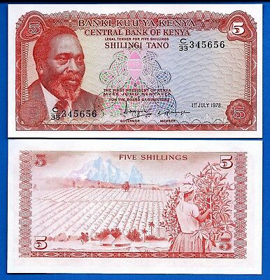 Kenya P-15, Five Shillings Year 1998 Uncirculated Banknote Free Shipping