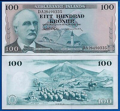 Iceland P-44 100 Kronur Year L.1961 Uncirculated Banknote