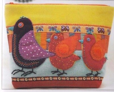 PATTERN - Birds on Parade Sac - applique & embroidered bag PATTERN - Sue Spargo