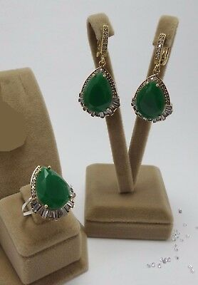 925 Silver Jewelry Sublime Brazil Emerald & White Topaz Earrings - Ring Set
