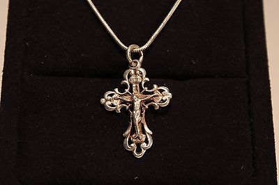 Art Deco Solid Silver Ladies  Men's Cross Pendant With Vintage Silver 925 Chain