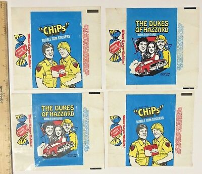 VINTAGE CHiPS TV COPS + DUKES OF HAZZARD WAX BUBBLE GUM CARD WRAPPERS DONRUSS!