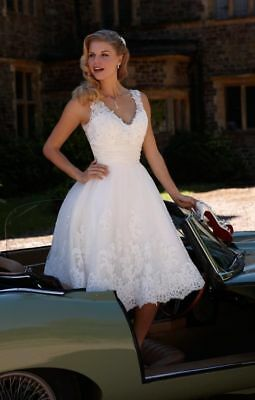 f92022c7cd687 NEW KNEE LENGTH Short White Ivory Lace Wedding Dresses Bridal Gowns ...