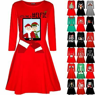Womens Ladies Christmas Lets take a Elfie Long Sleeve Flared Mini Swing Dress
