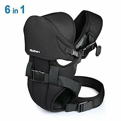 MixMart 6-in-1 Ergonomic Baby Carrier Clever Bib Airflow 3D Comfy Black
