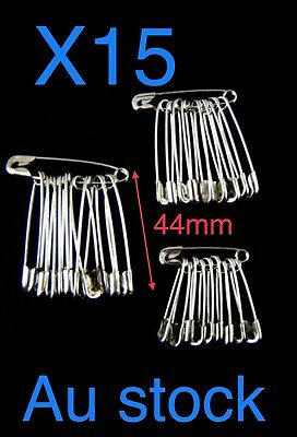 15x Large Safety Pins  44mm Silver Tone Metal, Craft, Sewing 🇦🇺🇦🇺🇦🇺