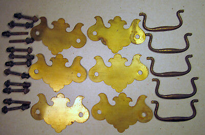 """Victorian Antique Colonial Furniture Handle Bale Drawer Pull 3"""" Center Brass x5"""