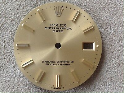 Rolex Zifferblatt dial Oyster Perpetual Date 27 mm Champagner Index
