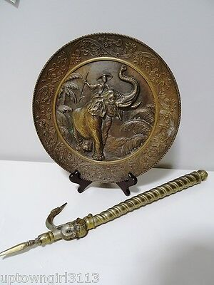 CAST BRONZE BRASS CHARGER & GOAD old South East Asian man riding elephant HEAVY