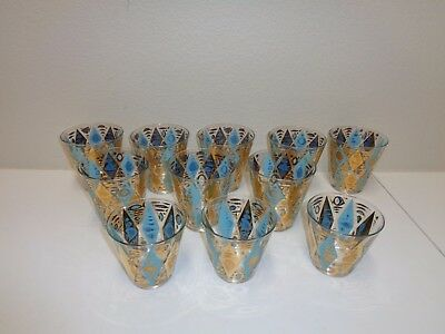 VINTAGE MID-CENTURY FISHES DRINK GLASS RETRO GOLD TURQUOISE Hiball Lot of 11
