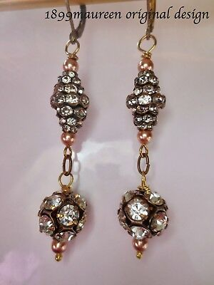 Art Deco Art Nouveau earrings 1920s vintage style earrings pearl crystal drop