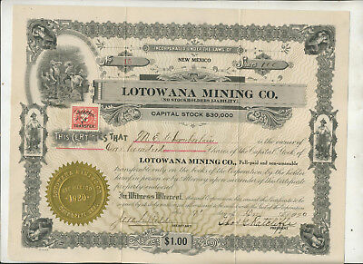 1920 Lotowana Mining Company New Mexico Stock Certificate Low Issue #15