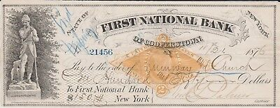 1876 Check from 1st National Bank of Cooperstown, NY
