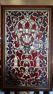 Glass Window - Stained Leaded Wood Frame w/ 3 Red Torch