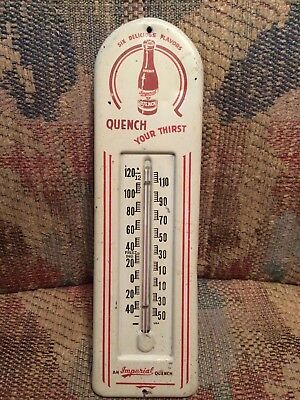 Vintage Antique Quench Soda Cola Bottle Tin Non Porcelain Thermometer Sign USED