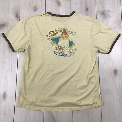 """OLD NAVY XL California Wind surfing T shirt Yellow ringer """"vintage look"""" Holes"""
