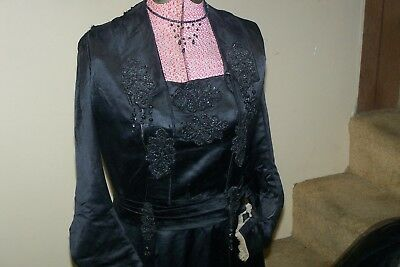 Authentic Victorian Black Mourning Dress, Cape, Hat, Purse, Jewelry