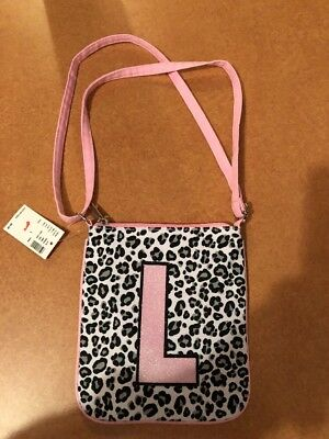 """Justice for Girls Initial Crossbody Pink Print Bag/Purse """"L"""" NWT! Holidays"""