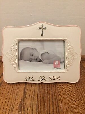 "Bless This Child Picture Frame 4"" x 6"" Photo Pink White Girl Cross"