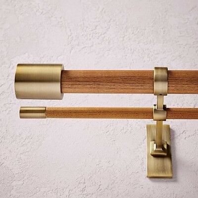 Set Of 3 West Elm Mid Century Modern Double Curtain Rods Wood