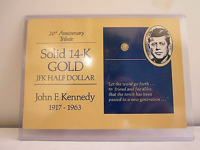 SOLID 14-K GOLD JFK HALF DOLLAR 20TH ANNIVERSARY With A Hard Plastic Protection