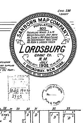 Lordsburg, New Mexico~Sanborn Map© sheet~mapped in 1902 with 1 map on CD