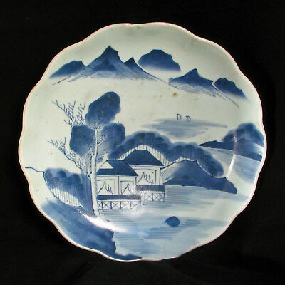 arge Japanese Arita Blue and White Charger with Landscape 19th Century