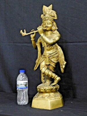 Antique Vintage Large Heavy Cast Brass Bronze Standing Shiva Statue 23 x 7 x 11