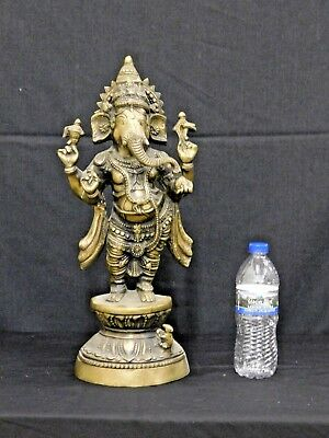 "Antique / Vintage Large Heavy Cast Brass or Bronze Ganesha Statue Figure 19""T"