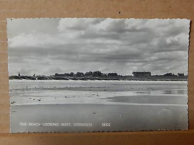 Postcard the Beach Looking West Dornock posted 1963 .XC2