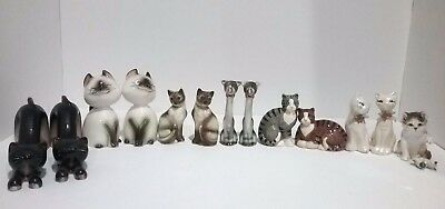 Vintage Lot of 14 Cat / Kittens Salt and Pepper Shakers 6 pairs + 2 Misc