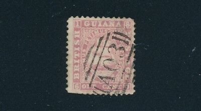 British Guiana (1860) ONE CENT PINK; PERF 12, WIDE SPACING; CUT PERFS; CV $300