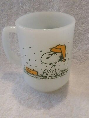 1958 Vintage Fire King Snoopy United Feature Syndicate Coffee Mug
