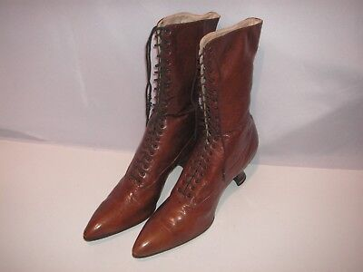 Old, Antique Vintage Victorian Pair Of Women's Lace-Up Leather Boots, Shoes