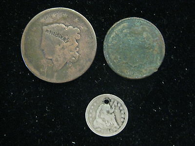 Lot Of 3 Us Coins Large Cent 1868 2 Cent 1855 W/a Seated Liberty Half Dime