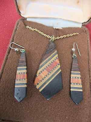 Vintage hand made inlaid wooden earring and pendant set on gold-tone chain