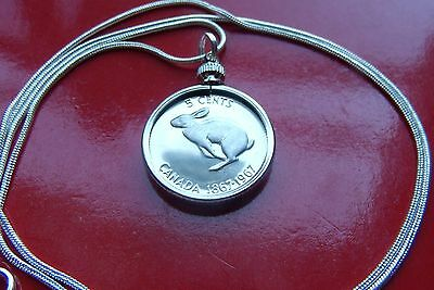 "1967 Canada Coin Rabbit Pendant on a 18"" 925 Silver Snake Chain"